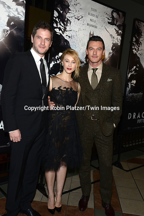 Gary Shore, Sarah Gadon and actor Luke Evans, who plays Dracula, attends the Special Screening of &quot;Dracula Untold&quot;  on October 6, 2014 at The ABC Loews 34th Street Imax Theatre In New York City. <br /> <br /> photo by Robin Platzer/Twin Images<br />  <br /> phone number 212-935-0770