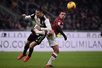 Cristiano Ronaldo of Juventus , Ismael Bennacer of AC Milan <br /> Milano 13/02/2020 Stadio San Siro <br /> Football Italy Cup 2019/2020 <br /> AC Milan - Juventus FC <br /> Photo Federico Tardito / Insidefoto
