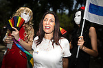 """© Licensed to London News Pictures . 03/06/2016 . Tel Aviv , Israel . MIRI REGEV (c) , Israeli Minister of Culture and Sport . Over 100,000 people attend the gay pride parade in Tel Aviv , reported to be the largest such event in the Middle East and Asia . The Israeli government has been accused of using the event as """" pinkwashing """" , marketing the event in order to deflect accusations of poor human rights behaviour . Photo credit: Joel Goodman/LNP"""