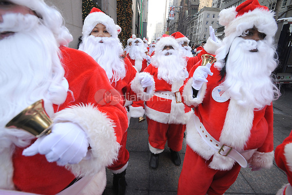Volunteer Santas kick off the 106th Annual Parade of The Volunteers of America Sidewalk Santa program in New York City. November 28, 2008 Credit: Dennis Van Tine/MediaPunch