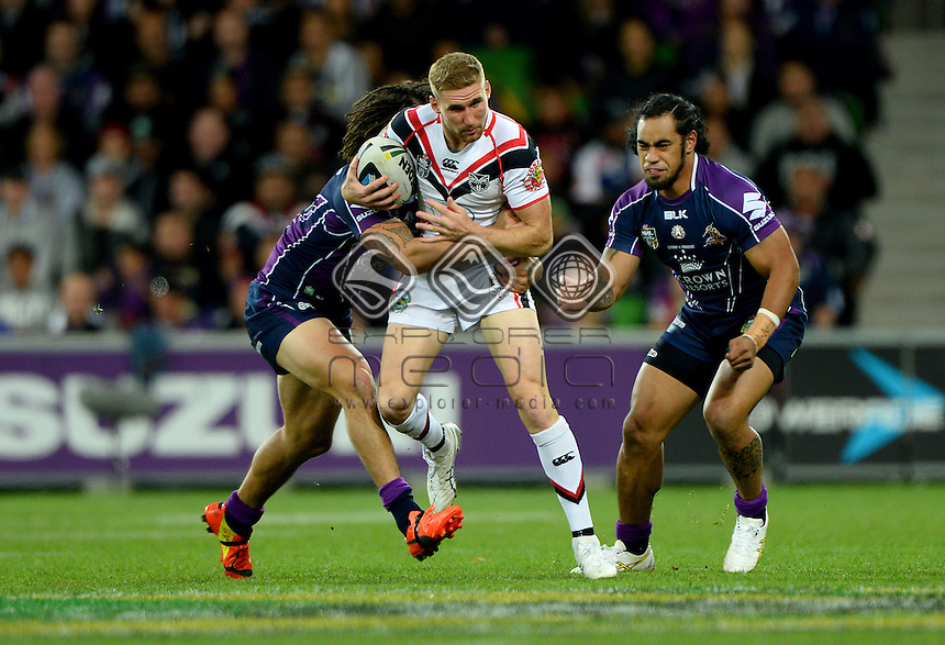 Sam Tomkins (NZ)<br /> NZ Warriors vs Melbourne Storm<br /> ANZAC day clash - AAMI Park<br /> Rugby League - 2014 NRL <br /> Melbourne AUS Friday 25 April  2014<br /> &copy; Sport the library / Jeff Crow