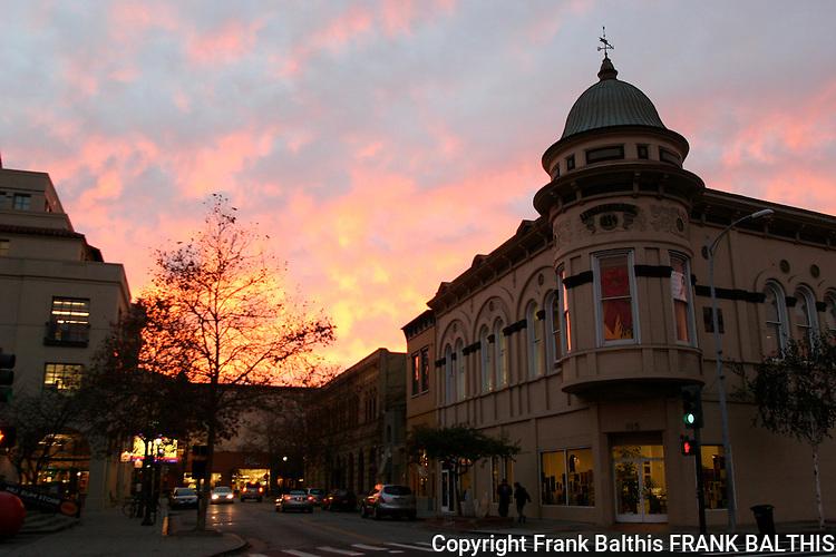 Downtown Santa Cruz at sunset