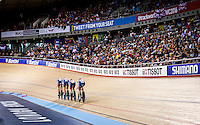 Picture by Alex Whitehead/SWpix.com - 03/03/2016 - Cycling - 2016 UCI Track Cycling World Championships, Day 2 - Lee Valley VeloPark, London, England - Great Britain compete in the Women's Team Pursuit qualification.<br /> <br /> 17 TROTT Laura<br /> 202 BARKER Elinor<br /> 203 HORNE Ciara<br /> 206 ROWSELL-SHAND Joanna