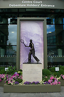 The Fred Perry statue at the All England Lawn Tennis and Croquet Club<br /> <br /> Photographer Ashley Western/CameraSport<br /> <br /> Wimbledon Lawn Tennis Championships - Day 9 - Wednesday 12th July 2017 -  All England Lawn Tennis and Croquet Club - Wimbledon - London - England<br /> <br /> World Copyright &not;&copy; 2017 CameraSport. All rights reserved. 43 Linden Ave. Countesthorpe. Leicester. England. LE8 5PG - Tel: +44 (0) 116 277 4147 - admin@camerasport.com - www.camerasport.com