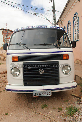 Brasilien built Volkswagen Bus (T2c) with watercooled TotalFlex engine and black plastic radiator grill. Lencois, Bahia, Brazil. --- No releases available. Automotive trademarks are the property of the trademark holder, authorization may be needed for some uses.