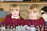 Twins Maura and Megan Mahoney pose for the camera during one of their first days at St Josephs girls primary school in Caherciveen.   Copyright Kerry's Eye 2008