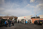 Fleetwood Town 1 Wrexham 1, 10/04/2012. Highbury Stadium, Football Conference Premier. Spectators making their way into the Memorial Stand before Fleetwood Town hosted Wrexham in a Blue Square Conference Premier match at Highbury Stadium. The match, between the top two teams in the division ended in a 1-1 draw watched by a near-capacity crowd of 4996. A victory for the hosts would have seen the club promoted to the Football League for the first time. Photo by Colin McPherson.