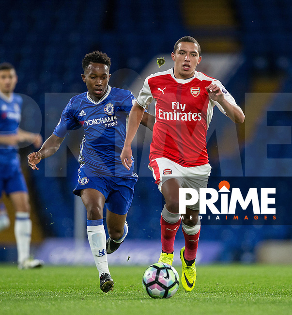 Ismael Bennacer of Arsenal moves away from Josemar Quintero of Chelsea during the EPL2 - U23 - Premier League 2 match between Chelsea and Arsenal at Stamford Bridge, London, England on 23 September 2016. Photo by Andy Rowland.