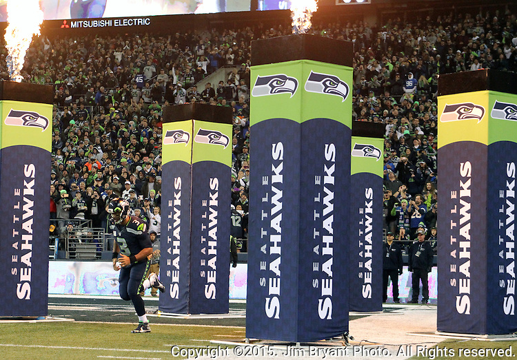 Seattle Seahawks  quarterback Russell Wilson is introduced before their game against the Arizona Cardinals at CenturyLink Field in Seattle, Washington on November 15, 2015. The Cardinals beat the Seahawks 39-32.   ©2015. Jim Bryant photo. All Rights Reserved.