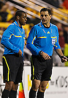 24 APRIL 2010:  Referee Steven DePiero and Assistant Referee Joe Fletcher discuss a call  during the Real Salt Lake at Columbus Crew MLS soccer game in Columbus, Ohio. Columbus Crew defeated RSL 1-0 on April 24, 2010.