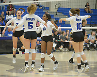 NWA Democrat-Gazette/ANDY SHUPE<br /> Rogers' Ryley Martin (from left), Camiran Brockhoff, Phoenix Bailey and Taylor Voight celebrate a win against Bentonville Tuesday, Oct. 9, 2018, during play in King Arena in Rogers. Visit nwadg.com/photos to see more photographs from the match.