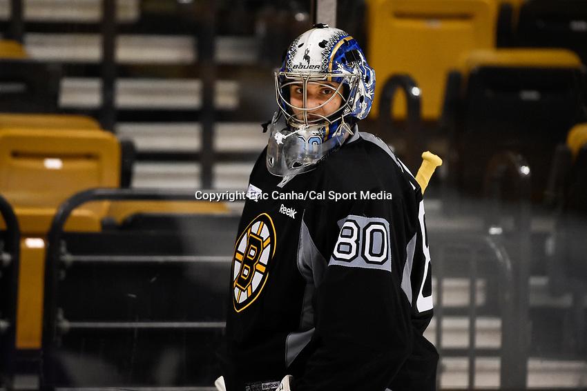 September 18, 2015 - Boston, Massachusetts, U.S. - Boston Bruins goalie Dan Vladar (80) heads to the net during the Boston Bruins training camp held at TD Garden in Boston Massachusetts. Eric Canha/CSM