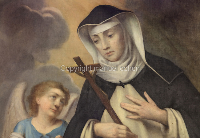 Portrait of St Agnes of Jesus, 1602-34, with her guardian angel, late 19th century, by an unknown artist, in the Historial of Mere Agnes de Langeac, Langeac, Haute Loire, Auvergne, France. St Agnes of Jesus, or St Agnes of Langeac, 1602-34, founded the Monastere Sainte Catherine de Sienne, or Monastery of St Catherine of Siena in 1623, and was prioress from 1627. Picture by Manuel Cohen