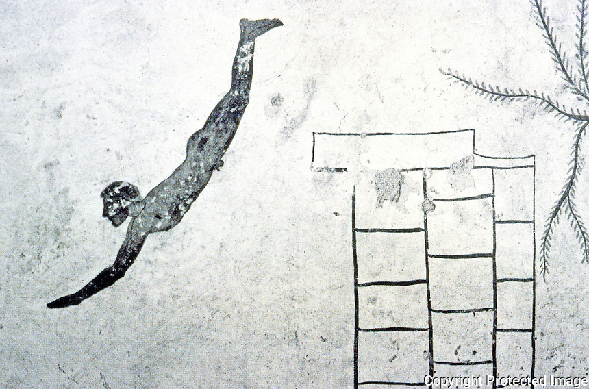 Greek Art:  The Diver, early  5th Century. Sarcophagus, Paestum Museum.
