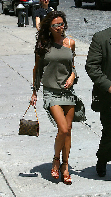 Victoria Beckham AKA 'Posh Spice' pictured leaving her hotel in New York. July 28, 2003. Please byline: NY Photo Press.   ..*PAY-PER-USE*      ....NY Photo Press:  ..phone (646) 267-6913;   ..e-mail: info@nyphotopress.com