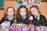 Enjoying lunch on their first day at school in Gaelscoil Aogain, Castleisland on Wednesday was Millie Ní h-Allmhúráin, Sarah Louise McGee and  Leah de Burca.