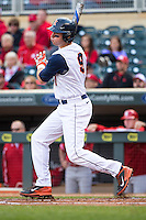 Ryan Nagle (9) of the Illinois Fighting Illini bats during the 2015 Big Ten Conference Tournament between the Illinois Fighting Illini and Nebraska Cornhuskers at Target Field on May 20, 2015 in Minneapolis, Minnesota. (Brace Hemmelgarn/Four Seam Images)