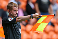 Assistant referee Graeme Fyvie rules out Mark Cullen's second goal for offside <br /> <br /> Photographer Alex Dodd/CameraSport<br /> <br /> The EFL Sky Bet League One - Blackpool v Portsmouth - Saturday August 11th 2018 - Bloomfield Road - Blackpool<br /> <br /> World Copyright &copy; 2018 CameraSport. All rights reserved. 43 Linden Ave. Countesthorpe. Leicester. England. LE8 5PG - Tel: +44 (0) 116 277 4147 - admin@camerasport.com - www.camerasport.com