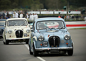 10th September 2017, Goodwood Estate, Chichester, England; Goodwood Revival Race Meeting; An Austin A35 driven by Gordon Shedden exits the Goodwood chicane