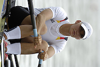 Poznan, POLAND.  2006, FISA, Rowing, World Cup, GER  W1X Peggy WALESKA, moves  away from  the  start, on the Malta  Lake. Regatta Course, Poznan, Thurs. 15.05.2006. © Peter Spurrier   .[Mandatory Credit Peter Spurrier/ Intersport Images] Rowing Course:Malta Rowing Course, Poznan, POLAND