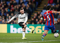 5th January 2020; Selhurst Park, London, England; English FA Cup Football, Crystal Palace versus Derby County; Wayne Rooney of Derby County taking a shot past James Tomkins of Crystal Palace - Strictly Editorial Use Only. No use with unauthorized audio, video, data, fixture lists, club/league logos or 'live' services. Online in-match use limited to 120 images, no video emulation. No use in betting, games or single club/league/player publications