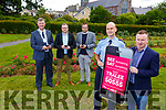 See Something Say Something being launched in the Town Park on Monday.<br /> Front l-r, Sgt Tim O&rsquo;Keeffe and Brian Stevenson of ZinMobi.<br /> Back l-r, Cllr: Graham Spring (Mayor of Tralee), Ken Tobin and David Scott from Tralee Chamber Alliance).