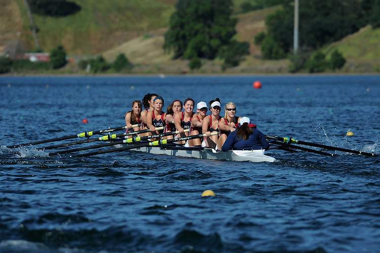 GOLD RIVER, CA - APRIL 30:  The Loyola Marymount Lions during the WCC Women's Rowing Championships on April 30, 2010 in Gold River, California.