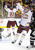 Pat Mullane (BC - 11) celebrates Paul Carey's (BC - 22) goal which opened scoring 1:15 into the game. - The Boston College Eagles defeated the Providence College Friars 4-2 in their Hockey East semi-final on Friday, March 16, 2012, at TD Garden in Boston, Massachusetts.