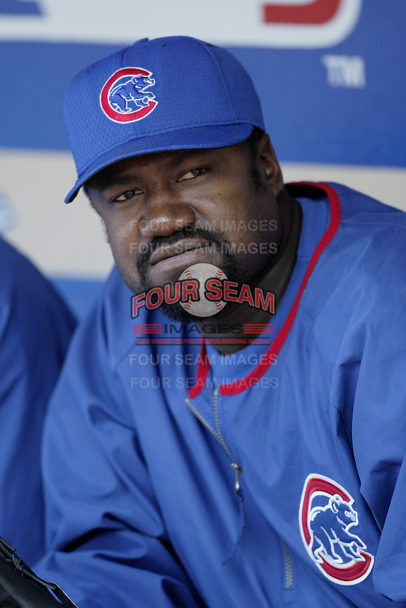 Antonio Alfonseca of the Chicago Cubs before a 2002 MLB season game against the Los Angeles Dodgers at Dodger Stadium, in Los Angeles, California. (Larry Goren/Four Seam Images)