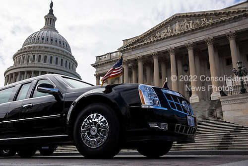 The presidential limousine is parked outside the U.S. Capitol March 12, 2013 in Washington, DC. U.S. President Barack Obama met with the Senate Democratic Caucus today, and is making three trips to Capitol Hill this week to meet with lawmakers. .Credit: Drew Angerer / Pool via CNP