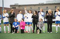 Allston, MA - Saturday, May 07, 2016: Boston Breakers forward Stephanie McCaffrey (9) is introduced prior to playing the Chicago Red Stars. Boston Breakers with their mothers during player introduction at a regular season National Women's Soccer League (NWSL) match at Jordan Field.