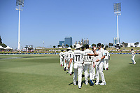 25th November 2019; Mt Maunganui, New Zealand;  Colin de Grandhomme and Tim Southee International test match day 5 of 1st test, New Zealand versus England;  at Bay Oval, Mt Maunganui, New Zealand.