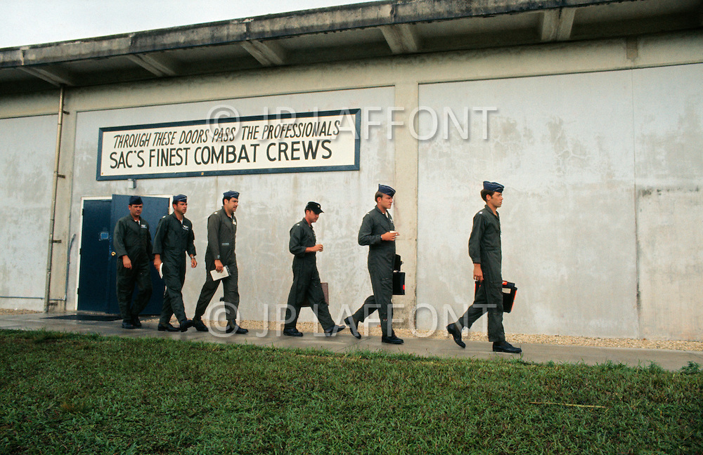 "June 1972, Guam --- The Andersen Air Force Base on Guam Island from where the B-52 Stratofortress planes take off for Vietnam. A B-52 crew leaving from the ""Good Luck door"" before a flight. --- Image by © JP Laffont"