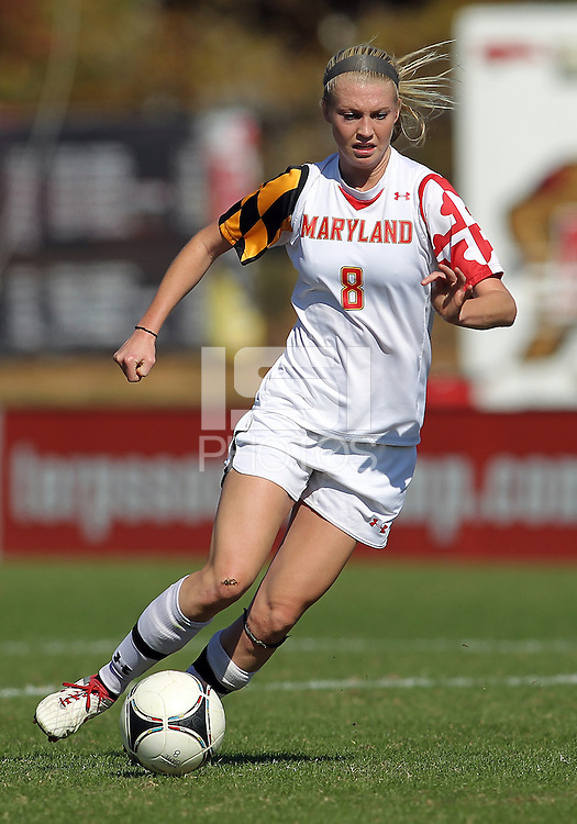 COLLEGE PARK, MD - OCTOBER 21, 2012:  Ashley Spivey (8) of the University of Maryland  during an ACC women's match against Florida State at Ludwig Field in College Park, MD. on October 21. Florida won 1-0.