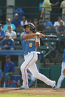 Myrtle Beach Pelicans outfielder Mark Zagunis (6) at bat during a game against the Potomac Nationals at Ticketreturn.com Field at Pelicans Ballpark on May 22, 2015 in Myrtle Beach, South Carolina.  Myrtle Beach defeated Potomac 8-4. (Robert Gurganus/Four Seam Images)
