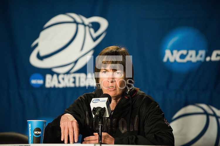 SPOKANE, WA - MARCH 29, 2013: Stanford Women's Basketball practice and press conferences at Spokane Arena.