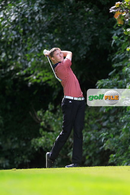 Jason Murphy (Warrenpoint) on the 16th tee during Round 1 of the Ulster Youths Championship at Belvoir Golf Club on Tuesday 4th August 2015.<br /> Picture:  Thos Caffrey / www.golffile.ie