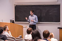 Economics student Harrison Luft presents his senior comprehensive results on February 13, 2017. <br /> <br /> (Photo by Nick Harrington, Occidental College Class of 2017)