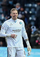 Goalkeeper Ryan Allsop of Wycombe Wanderers at the final whistle during the Sky Bet League 2 match between Wycombe Wanderers and Bristol Rovers at Adams Park, High Wycombe, England on 27 February 2016. Photo by Andrew Rowland.