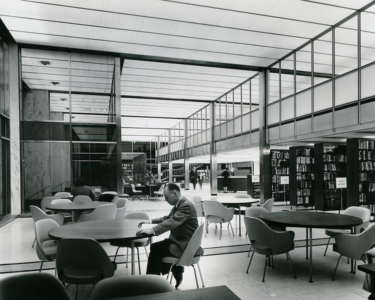 1962 September .Redevelopment..Downtown South (R-9)..Kirn Memorial Library Interior..HAYCOX - R. V. Fishbeck.NEG# 64-994-6.3004..