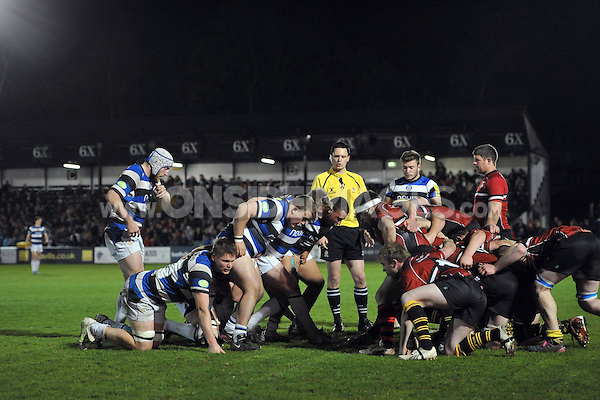 A scrum forms in the Somerset County half. End-of-season friendly match, between Bath United and Somerset County Senior XV on April 14, 2014 at the Recreation Ground in Bath, England. Photo by: Patrick Khachfe / Onside Images
