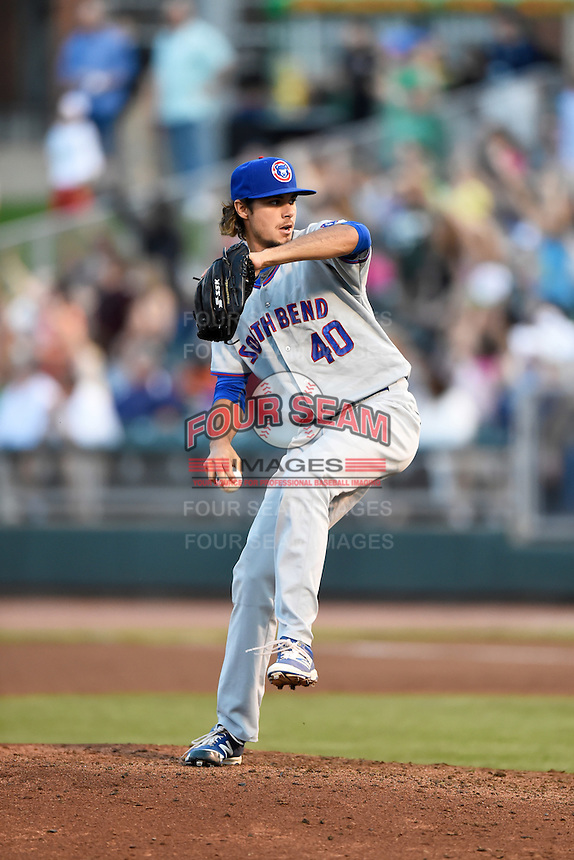 South Bend Cubs relief pitcher Kyle Miller (40) during a game against the Dayton Dragons on May 11, 2016 at Fifth Third Field in Dayton, Ohio.  South Bend defeated Dayton 2-0.  (Mike Janes/Four Seam Images)