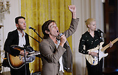 Former frontman of New York-based Indie Pop band Fun, Nate Ruess performs during an event to honor the 2016 National Teacher of the Year and finalists  in the East Room of the White House on May 3, 2016 in Washington D.C. <br /> Credit: Olivier Douliery / Pool via CNP