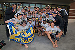 LOS ANGELES, CA - DECEMBER 03:  The University of California Los Angeles water polo team celebrates after the Division I Men's Water Polo Championship held at the Uytengsu Aquatics Center on the University of Southern California campus on December 3, 2017 in Los Angeles, California. (Photo by Justin Tafoya/NCAA Photos via Getty Images)