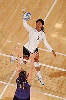 Stanford, CA - OCTOBER 31:  Middle blocker Janet Okogbaa #2 of the Stanford Cardinal during Stanford's 25-22, 25-23, 25-18 win against the Washington Huskies on October 31, 2008 at Maples Pavilion in Stanford, California.