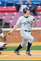 Daniel Palka #32 of the Georgia Tech Yellow Jackets follows through on his swing against the Wake Forest Demon Deacons at Gene Hooks Field on April 16, 2011 in Winston-Salem, North Carolina.  Photo by Brian Westerholt / Four Seam Images