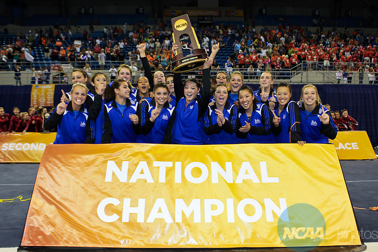 23 APR 2010:  UCLA celebrates their victory during the Division I Women's Gymnastics Championship held at the Stephen C. O'Connell Center on the University of Florida campus in Gainesville, FL. UCLA's final team score was 197.725 to win the national title. Matt Marriott/NCAA Photos
