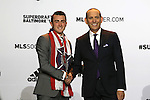 14 January 2016: Jack Harrison (ENG) (left), with MLS Commissioner Don Garber (right), was selected with the #1 overall pick by the Chicago Fire. Harrison was later traded during the draft to New York City FC. The 2016 MLS SuperDraft was held at The Baltimore Convention Center in Baltimore, Maryland as part of the annual NSCAA Convention.