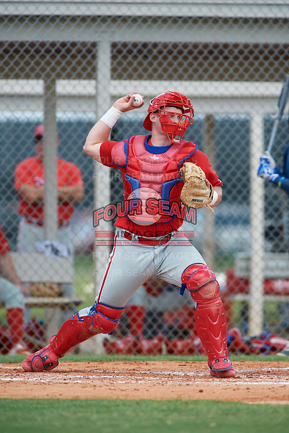 GCL Phillies catcher Kipp Moore (3) throws to second base during a game against the GCL Tigers East on July 25, 2017 at TigerTown in Lakeland, Florida.  GCL Phillies defeated the GCL Tigers East 4-1.  (Mike Janes/Four Seam Images)