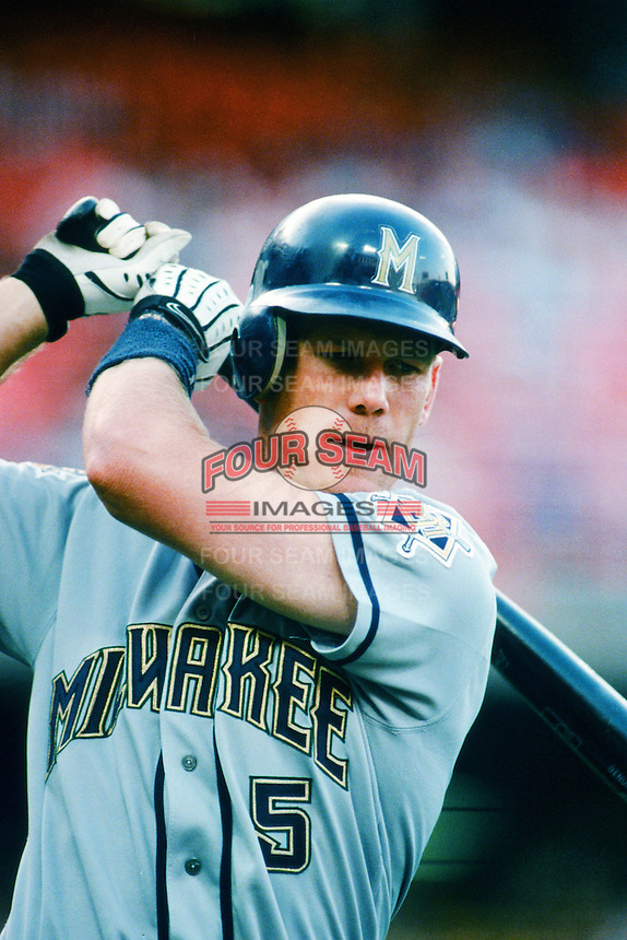 Geoff Jenkins of the Milwaukee Brewers waits to bat during a 1999 Major League Baseball season game against the Los Angeles Dodgers in Los Angeles, California. (Larry Goren/Four Seam Images)